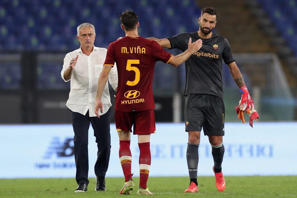 Roma coach Jose Mourinho applauds new signings Rui Patricio and Matias Vina